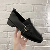 IELGY Square leather shoes women fashion British style retro wild thick heel soft leather casual