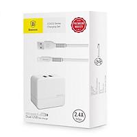 Củ sạc nhanh 2 cổng USB 2.4A baseus CoCo series + 2 cáp iphone - Hàng nhập khẩu
