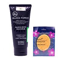 Como Sữa Rửa Mặt Nam Sạch Nhờn, Trắng Da Dabo Black Force (120ml) + Tặng Bông Bọt Biển Massage Mặt Hàn Quốc Aroma – Hàng Chính Hãng