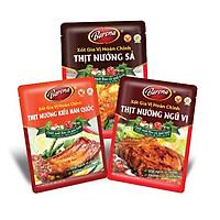 Combo Xốt gia vị hoàn chỉnh Barona: 1 gói Thịt Nướng Hàn Quốc (80gr) + 1 gói Thịt Nướng Ngũ Vị (80gr) + 1 gói Thịt Nướng Sả (80gr)