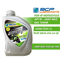 Combo 2 Chai Nhớt Xe Số BCP Super 1 SAE 15W40, API SL, JASO MA (1 Lít / Chai)