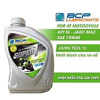 Nhớt Xe Số BCP Super 1 SAE 15W40, API SL, JASO MA (1 Lít)