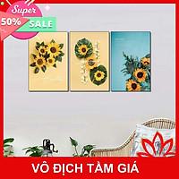 Bộ tranh treo tường phong thủy trang trí nội thất đẹp và giá gốc tại xưởng mới nhất thị trường ĐL 62 hoa hướng dương đẹp