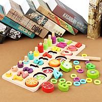 Đồ chơi nhận biết số lượng kết hợp cắt củ quả ( Từ 1-3 tuổi)
