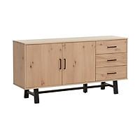 Tủ chén đĩa JYSK Gadeskov gỗ công nghiệp phủ veneer sồi màu sồi/đen 160x80x42cm