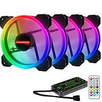 Combo 4 Quạt Led RGB Coolmoon Ray + Hub remote Coolmoon  Hàng nhập khẩu