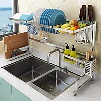 Kệ Để chén bát, Kệ bếp, Kệ chén inox SU 304 Cao Cấp phía trên Chậu rửa bát - Dài 85cm