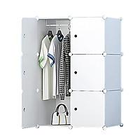 Tủ nhựa lắp ghép 6 Ô quần áo trắng cửa trắng   (100*74*37)