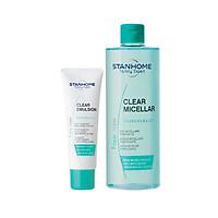 Combo nước rửa mặt tẩy trang cho da dầu mụn Clear Micellar 400ml và Kem dưỡng ẩm se khít chân lông Clear emulsion 40ml