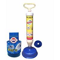 Bộ 1 bơm thụt thông ống vệ sinh đa năng và 1 chai thả bồn cầu khử mùi diệt khuẩn