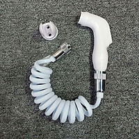 Đầu vòi xịt vệ sinh tăng áp nhựa ABS màu trắng - Dây mềm cho vòi xịt vệ sinh uốn hình lò xo bằng nhựa PU dài 1M  A33-2