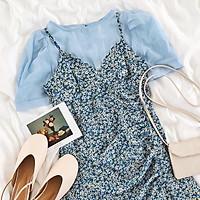 váy đầm hoa nhí vintage nhún eo hai dây siêu xinh