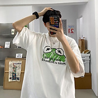 4 Color【M-3XL】Summer New Style Fashion Frog Printed Graphic Short Sleeve T-shirt Men Breathable Unisex Half Sleeve T-shirt Oversize Student Short T-shirt Couple Wear