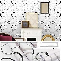 Combo 10M decal giấy dán tường Vòng tròn trắng đen (10mx0.45m) - decalsusu