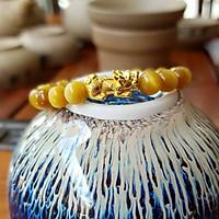 Vòng tay phong thủy đá Mắt Hổ Vàng Nâu 8 Ly Mix Tỳ Hưu Bạc Mạ Vàng 24K