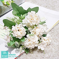 Hoa Giả Hoa Lụa - BÓ HOA CẨM TÚ CẦU MINI 9 Bông Kèm Lá Điểm
