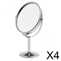 4x3in Mini Dual Side Normal Magnifying Oval Stand Makeup Table Mirror Silver