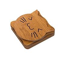 Combo 4 lót nồi  bằng gỗ họa tiết đáng yêu (14.8cm x 14.8cm)