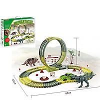 Bộ đồ chơi  lắp ghép đường ray ô tô KAVY kèm khủng long và nhiều chi tiết khác nhau