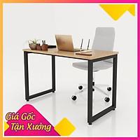 Bàn làm việc gỗ CN chân chữ U, bàn làm việc chân sắt chứ u (50x100x75cm) BLV03