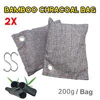 2/5Pcs Natural Bamboo Charcoal Air Purifying Bag Freshener Activated Carbon 200g