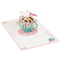 Thiệp 3D pop up Thỏ Và Hoa