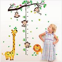 Decal dán tường Thước đo chiều cao khỉ con AmyShop DTD022(150x110cm)