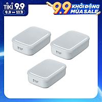 Bộ 3 hộp đựng thực phẩm bằng nhựa PP cao cấp 900mL - Hàng nội địa Nhật
