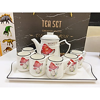 Bộ ấm chén kèm khay sứ cao cấp pha trà cà cà phê cây nấm đỏ