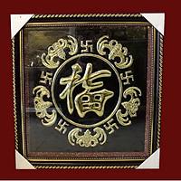 Tranh đồng ngũ phúc phong thủy 5 con dơi chầu chữ phúc (50 x 50 cm)