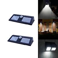 Bộ 2 cái đèn cảm ứng năng lượng mặt trời 14W - cảm biến chuyển động hồng ngoại gắn tường ngoài trời 60 bóng led - IP 65