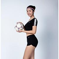 Bộ thể thao nữ quần short chữ V áo croptop có tay màu Đen - DN109