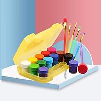 Màu nước vẽ cho bé set 12 màu tặng kèm 6 cọ , an toàn dễ giặt và tẩy rửa , tiện lợi gọn gàng cho trẻ con vẽ tô màu