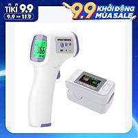 Nhiệt kế hồng ngoại đo trán cầm tay + Máy đo nồng độ oxy SpO2 trong máu cảm biến bằng xung đầu ngón tay