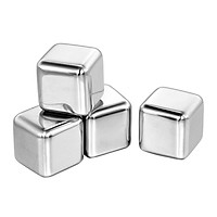 304 Stainless Steel Ice Cube Set of 4 Reusable Chilling Stones with Plastic Case for Whiskey, Vodka, Beer, Wine, Drinks - Silver