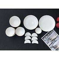 Bộ bát đĩa gốm sứ cao cấp 6 người (19P) Cotton - Erato - Hàng nhập khẩu Hàn Quốc