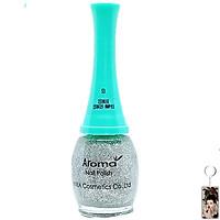 Sơn móng tay Aroma Nail Polish Hàn Quốc 12ml #53 lấp lánh bạc tặng kèm móc khóa