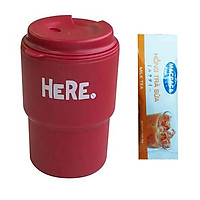 Ly Nước Kèm Nắp Xoay Và Lỗ Cắm Ống Hút + Tặng Hồng Trà Sữa (Cafe) Maccaca 20g