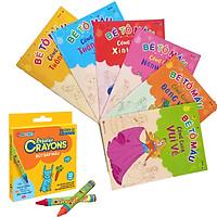 Sách : Combo Sách Bé Tô Màu Công Chúa  6 Cuốn + Bút Sáp 12 Màu Duka DK 3303 -12