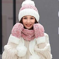 Sét nón len nữ kèm khăn và găng tay phong cách Hàn, bộ mũ len nữ lót nỉ cao cấp