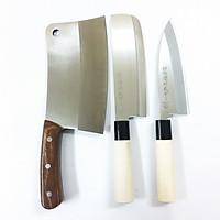 Bộ 3 Dao Bếp Nhật Bản Dao Chặt, Dao Bếp Thái Cao Cấp Cán Gỗ Không Hút Nước, Thép Không Gỉ SK35