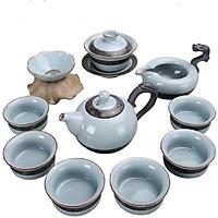 Bộ ấm chén pha trà men rạn Tùng Trúc Cúc Mai 10 món