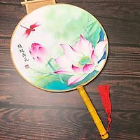 Quạt tròn cổ trang liên hoa chuồn chuồn bộ sưu tập quạt tròn quạt trúc cầm tay cosplay thiết kế độc đáo phong cách cổ trang cổ điển