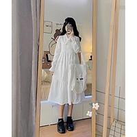 Váy Tiểu Thư Trắng Trễ Vai Vintage - Đầm Xoè 2 Lớp Mặc Nhiều Kiểu ( Ảnh Thật )