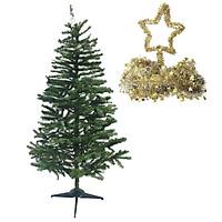 Cây thông lá xanh cao 1,8m trang trí Giáng sinh Noel (Tặng 1 ngôi sao 5 cánh và 2 dây kim tuyến 1,8m )