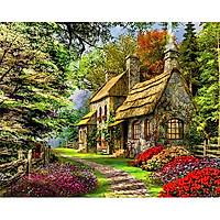 Tranh sơn dầu số hoá tự tô - ngôi nhà ngàn hoa SDBTNH00023