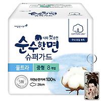 Băng vệ sinh Kleannara 100% cotton Soohan Hàn Quốc (23cm x 8miếng) kèm móc khoá