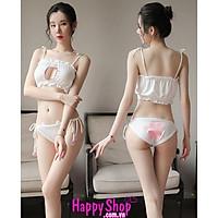 Bộ đồ ngủ 2 mảnh cosplay miêu nữ đáng yêu, hóa trang cô nàng mèo trắng ngây thơ sexy TK2554