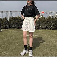 Quần Short Kaki Nữ Cạp Khuy Xắn Gấu - Quần sooc đùi dáng suông ống rộng cạp cao lưng chun kiểu dáng basic, vintage