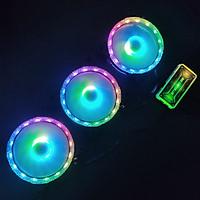 3 Quạt Tản Nhiệt, Fan Case KNC Diamond V2 Led RGB Dual Ring, kèm theo bộ Hub RGB điều khiển màu từ xa
